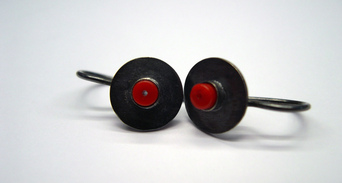 oxidized silver  circle earrings with red coral