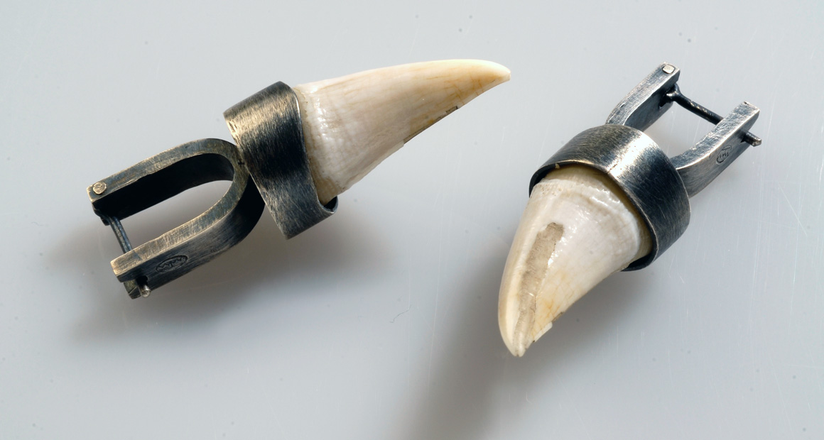 oxidized silver earrings with teeth