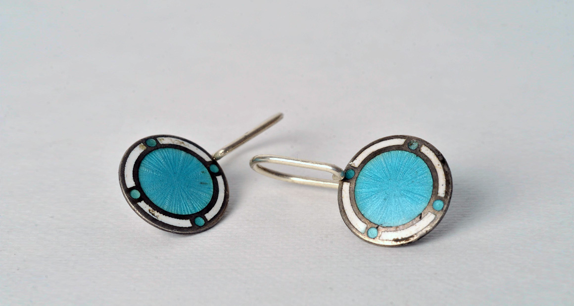 silver earrings with  blue enamel